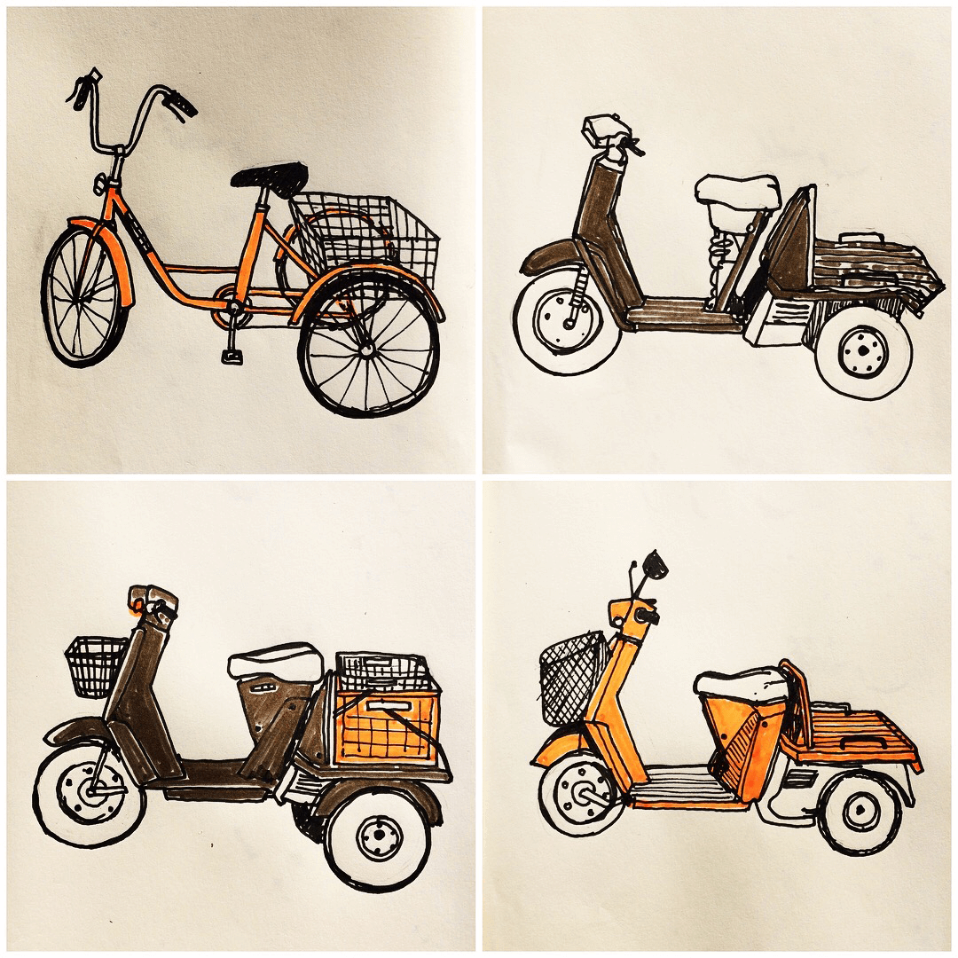 Holiday Sketchbook - 3 wheelers coloured