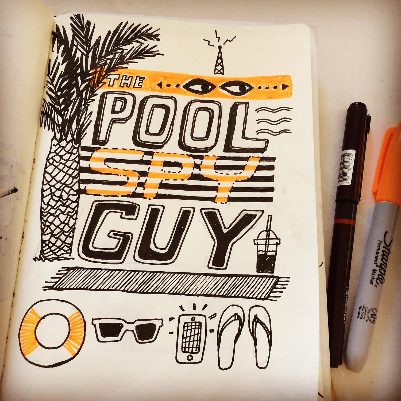 Holiday Sketchbook - Pool Spy Guy