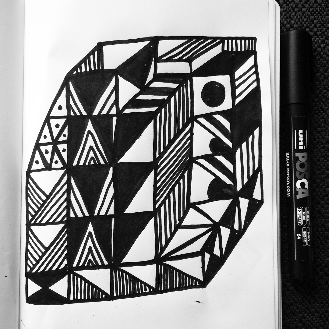 Cube_BlackandWhite_Doodle
