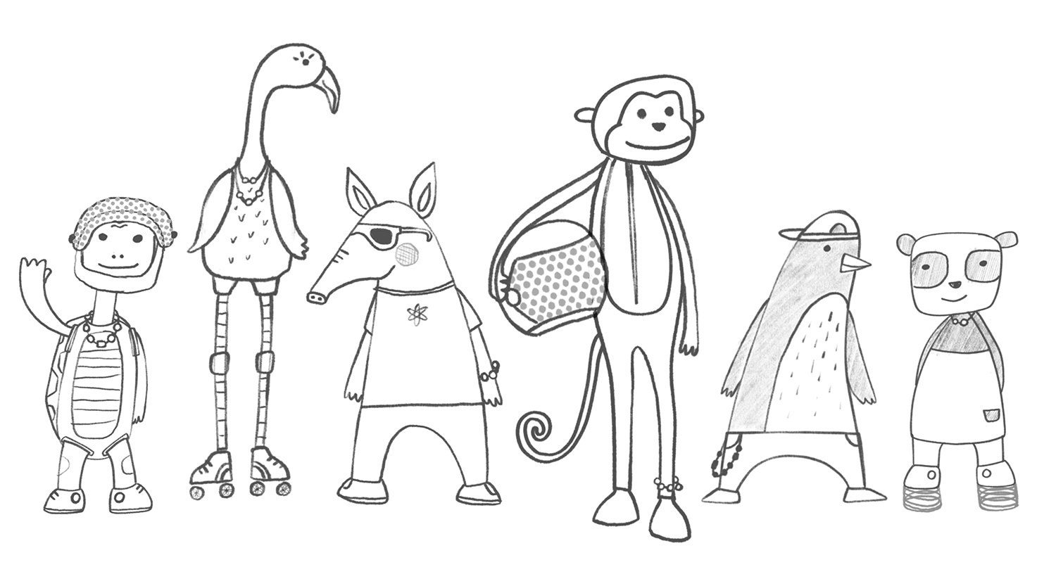Initial sketches of the six proposed characters