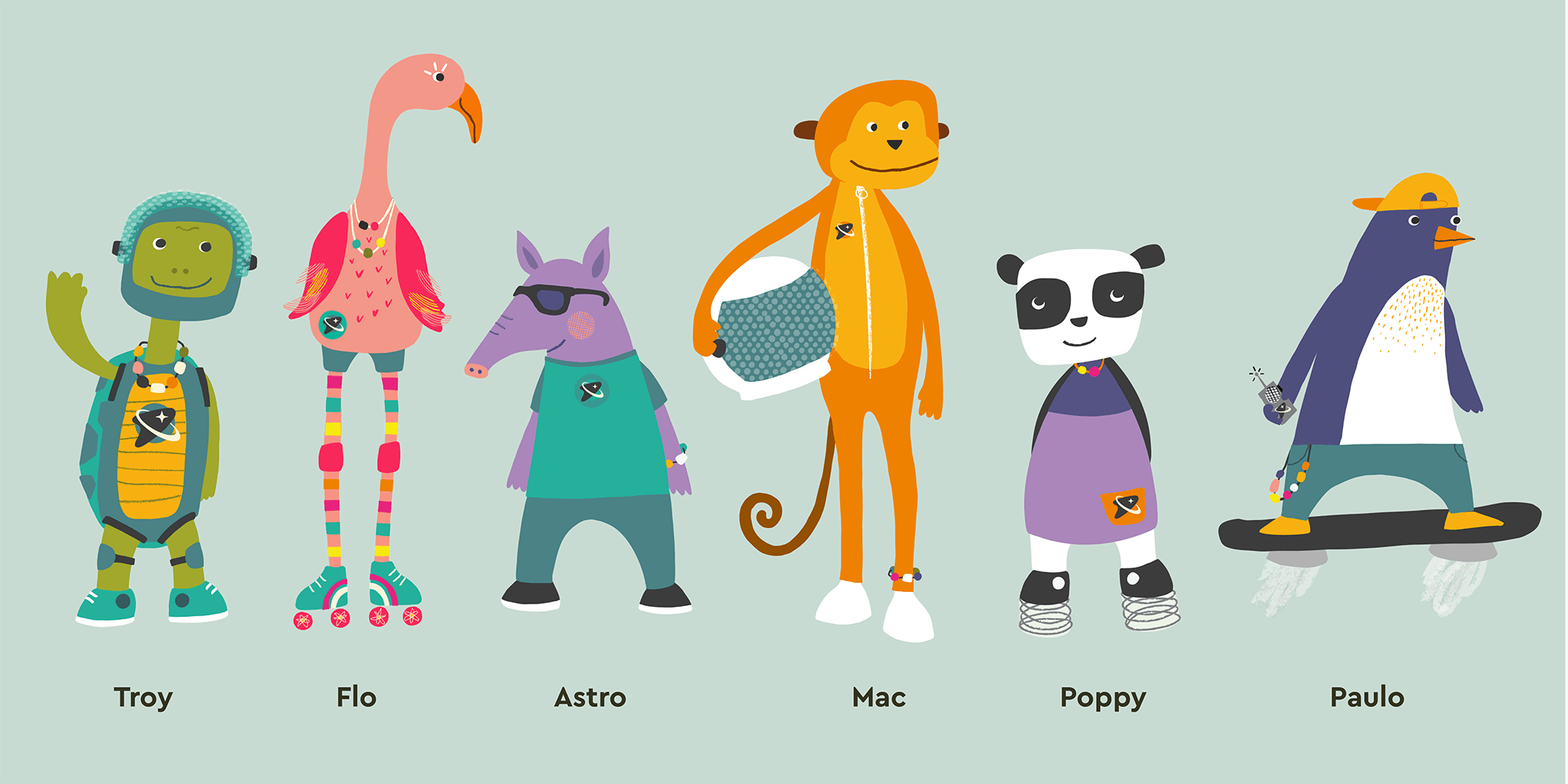 The full character line up, with names
