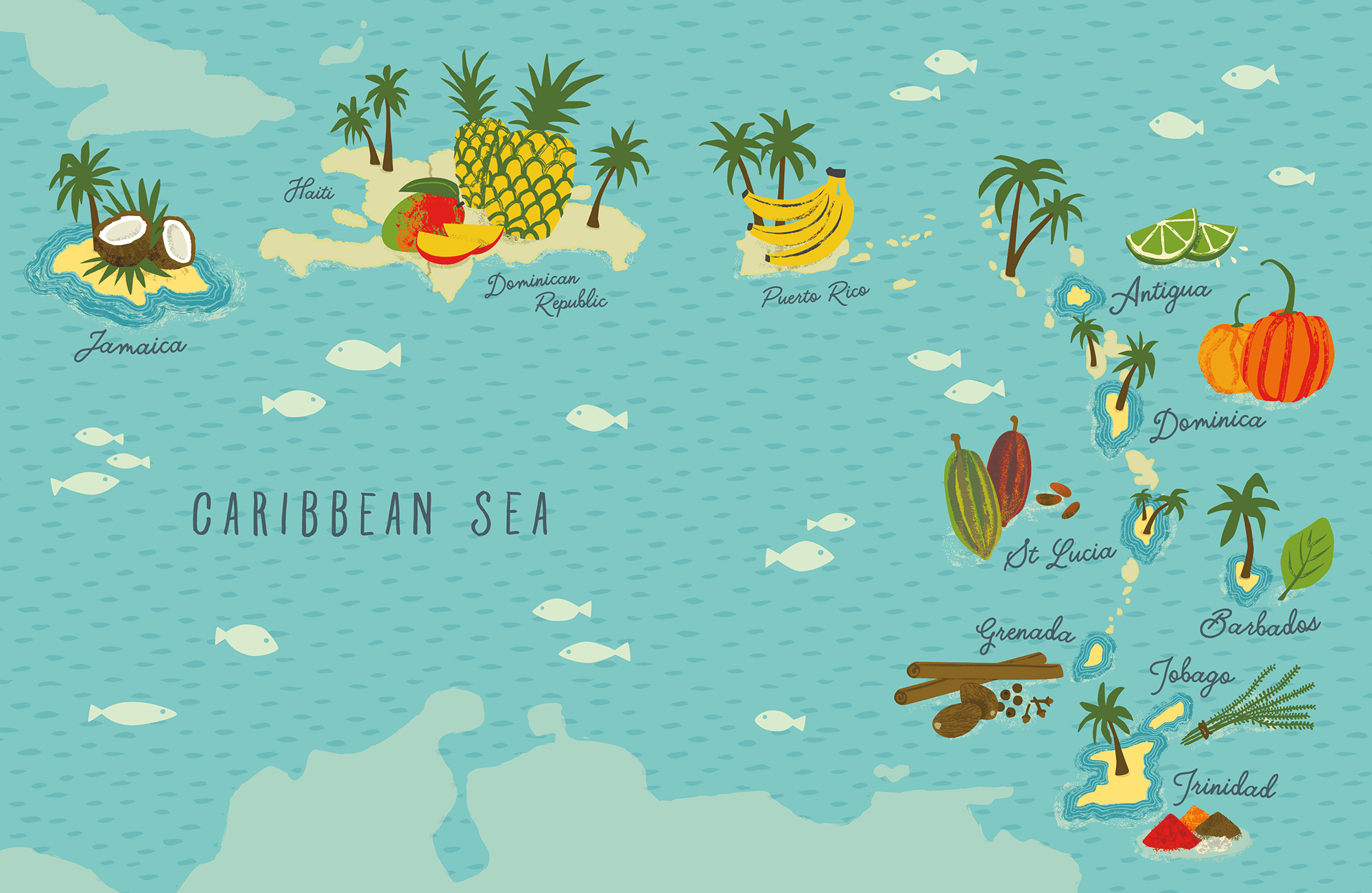 Caribbean Map - Endpaper for Ainsley Harriott's book, 'Ainsley's Caribbean Kitchen'