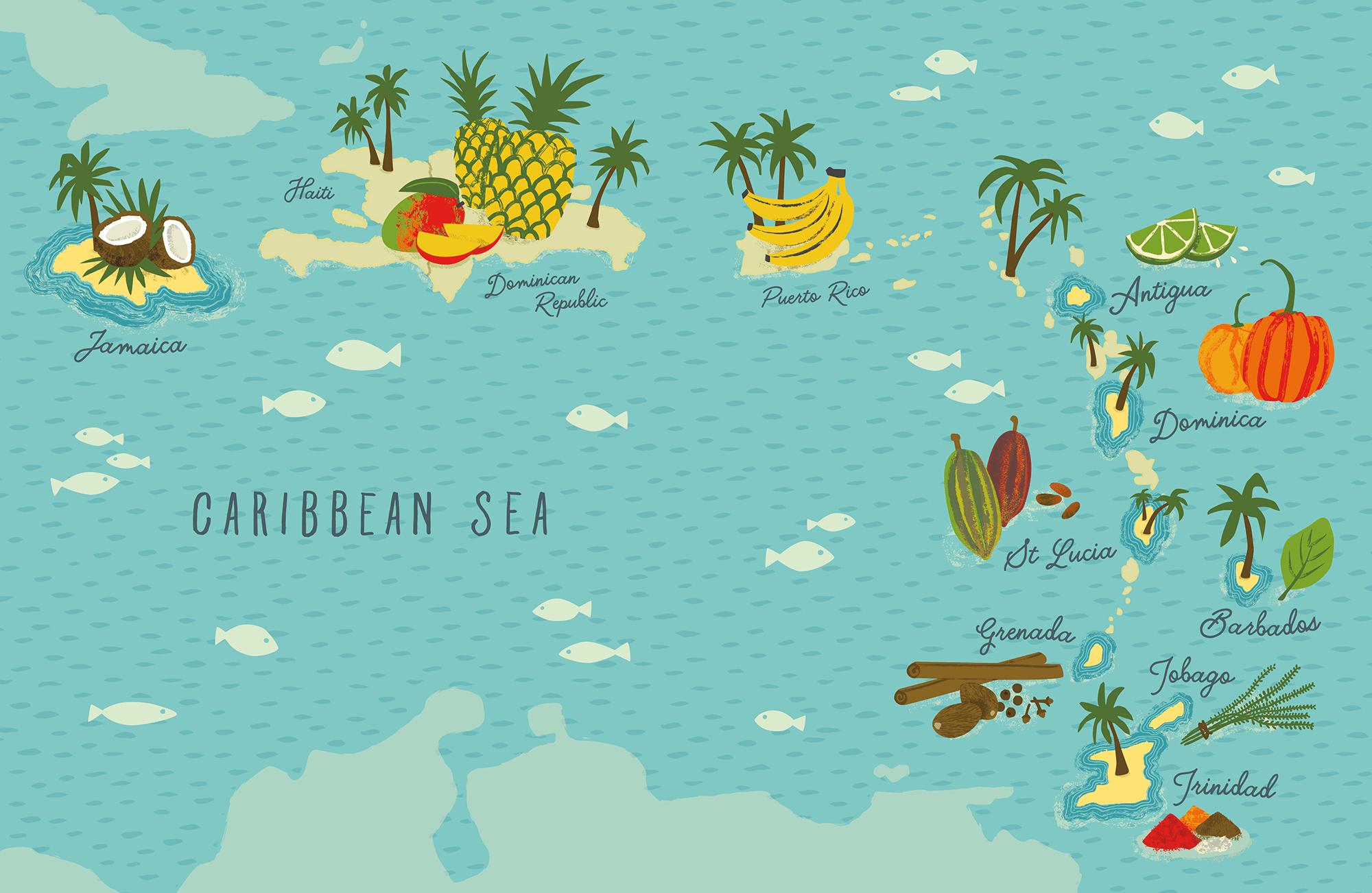 CARIBBEAN MAP - AINSLEY\'S CARIBBEAN KITCHEN — Carys-ink | Freelance ...