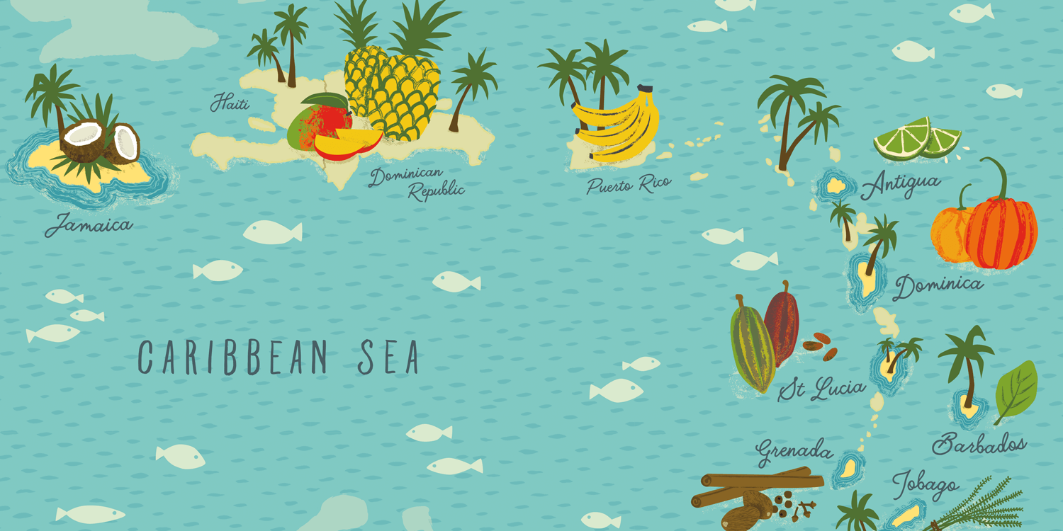 CARIBBEAN MAP | Endpaper for 'Ainsley's Caribbean Kitchen' Cookery Book