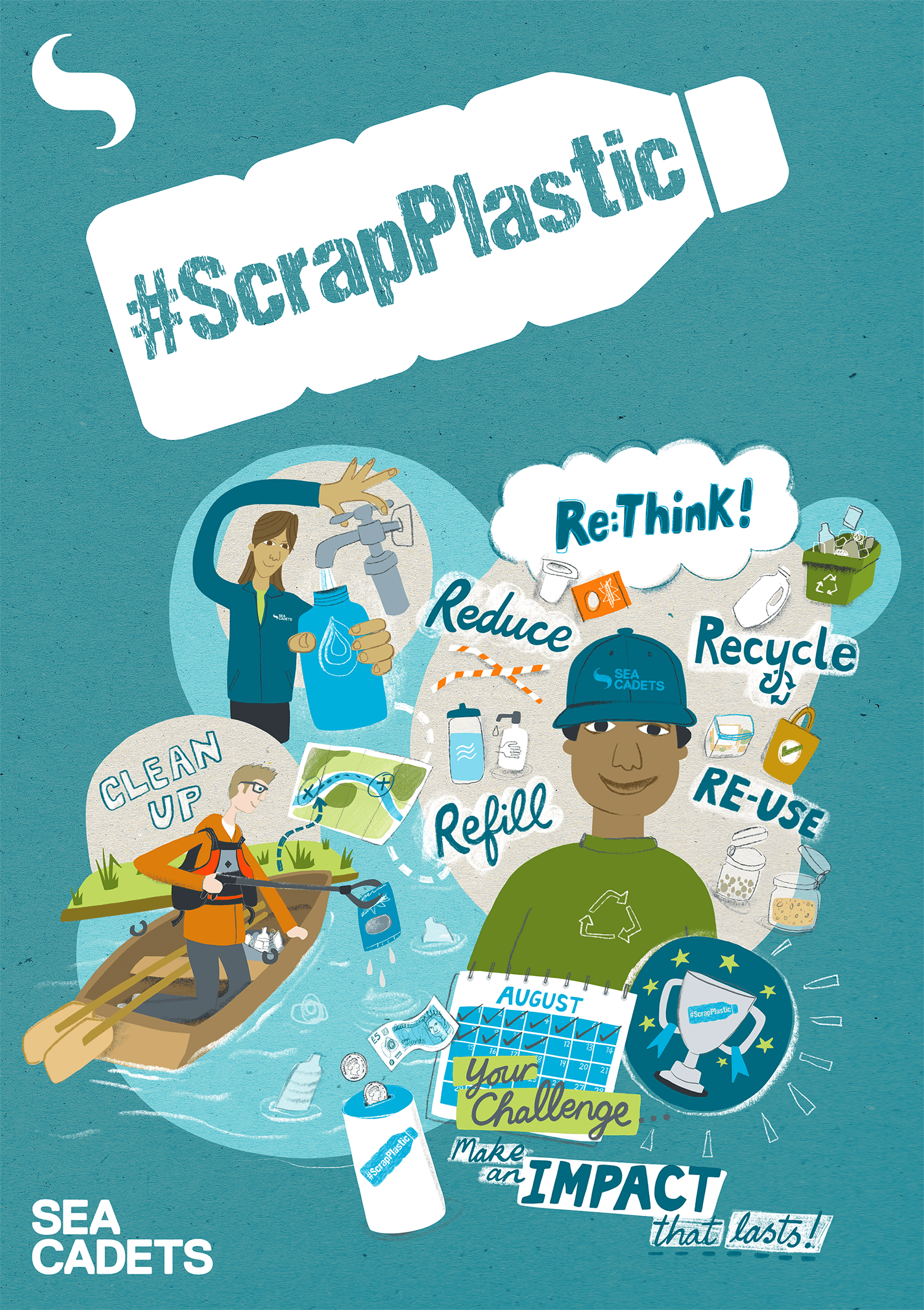 Activity Pack Cover, using supplied Sea Cadets & #ScrapPlastic branding