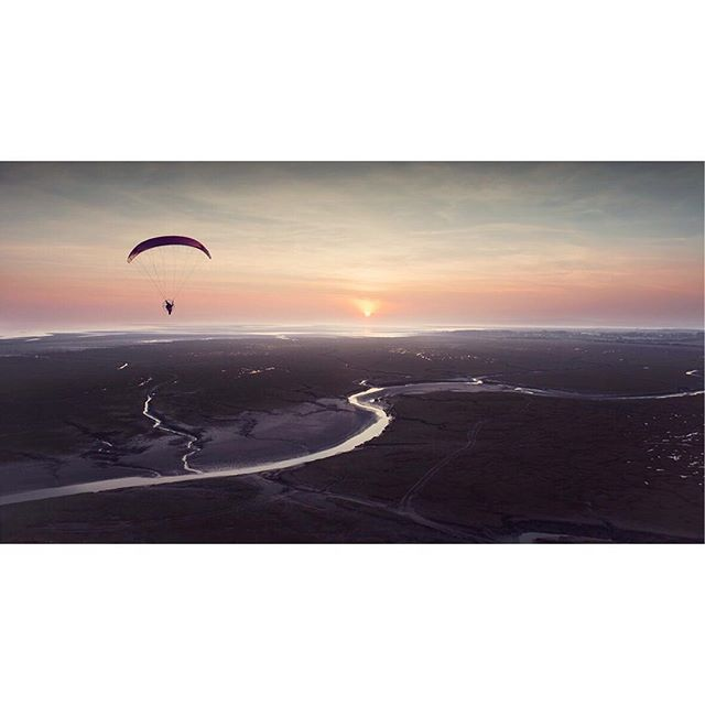 'Into the Sun'  #flight#paraglider#adventure#sunset#nikon#landscape#sun#northwest#loveyourjob#travel