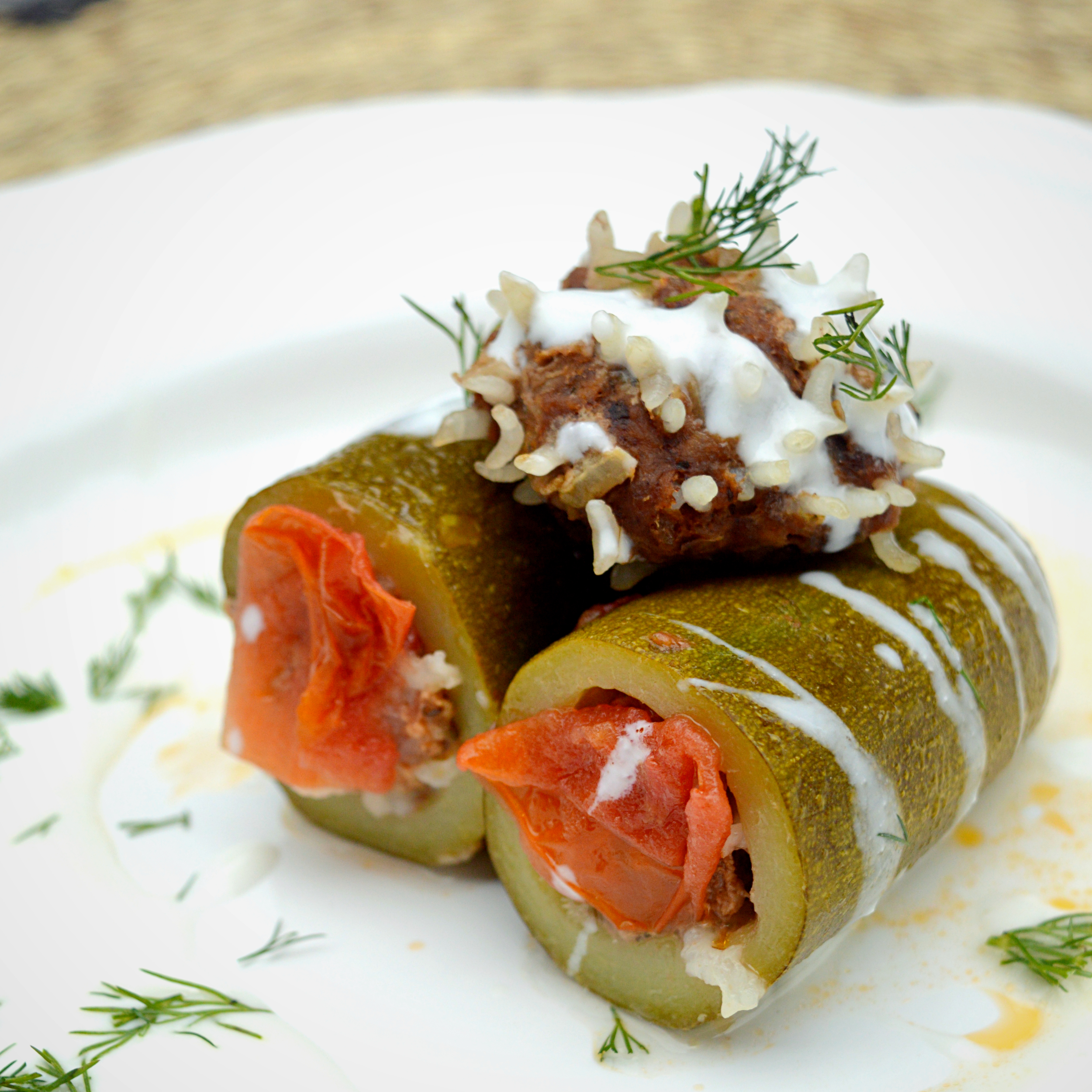 Ground beef stuffed zucchinies