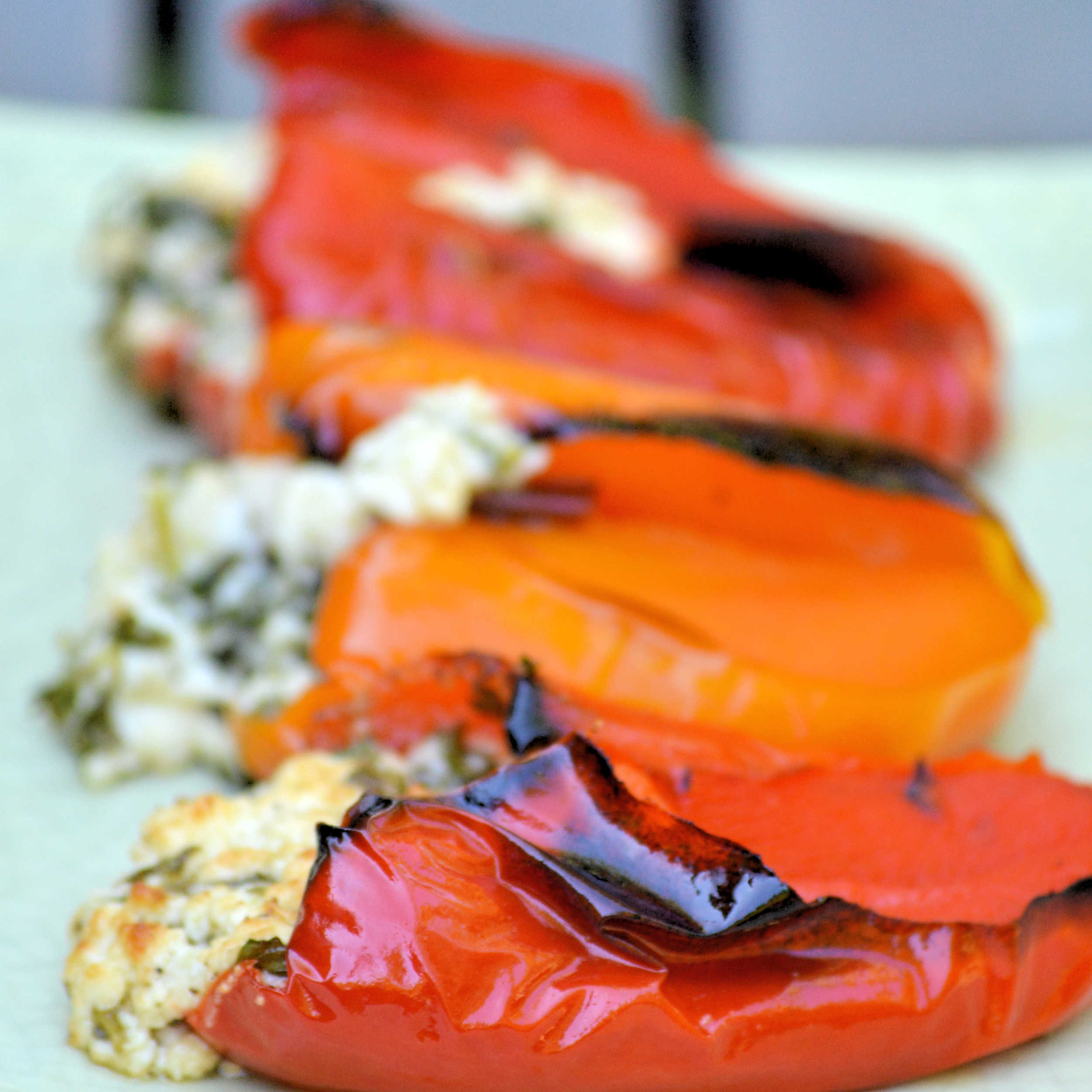 Roasted paprika filled with aromatic feta cheese  Vegetarian / gluten free