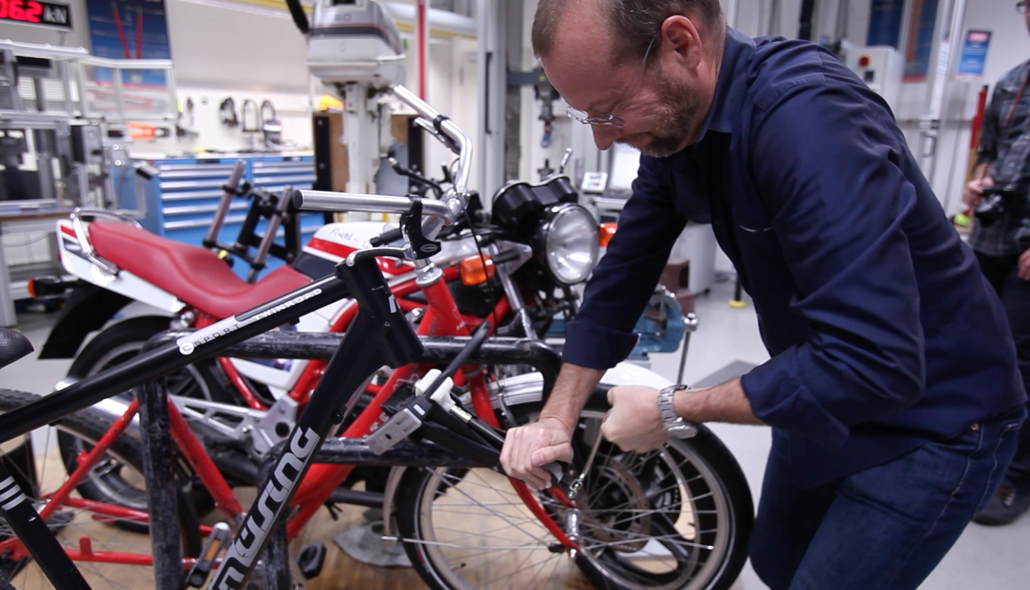 BicycleSPACE cofounder, Erik Kugler, at Abus' legendary lock fail test facility in Germany.