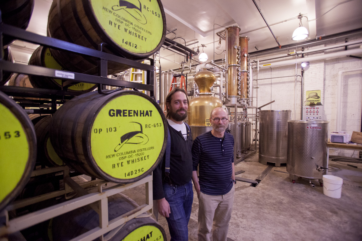 New Columbia Distillers founders John Uselton (left) and Michael Lowe (right) in their Ivy City Distillery