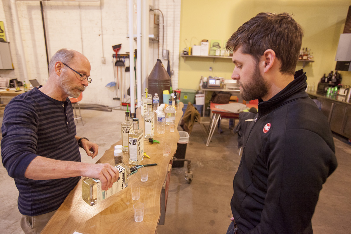 Kevin samples their winter gin: Green Hat Ginavit