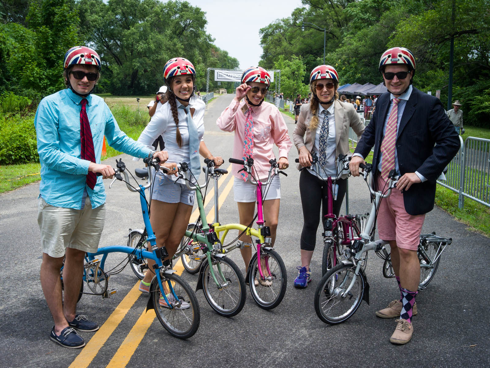 British Embassy staff at the   2014    Brompton U.S. Championship,  competing on  Brompton bicycles  and wearing  Union Jack Nutcase helmets