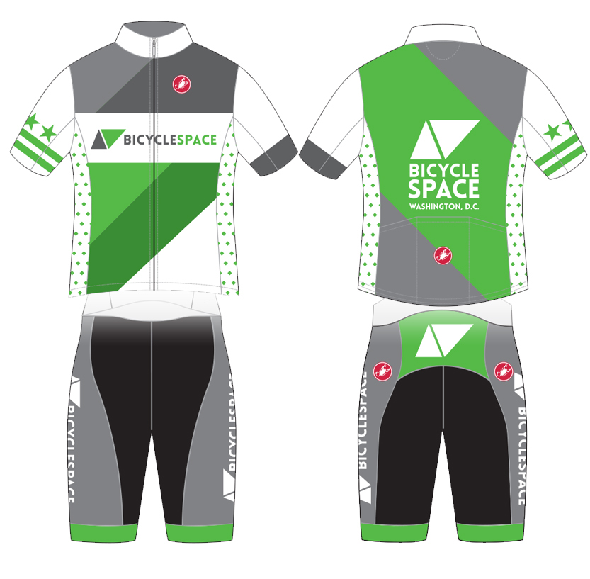 It's been a long time coming, we are thrilled to announce official BicycleSPACE kits!  Pre-order a jersey and/or bibs here for 10% off . These super-comfortable Castelli kits will let you rep #bikedc no matter where your ride. Three stars two bars on the right sleeve, and diamond district pattern on side panels.  View size chart here.   Jerseys $100 now $90. Womens shorts $100 now $90. Mens bibshorts $120 now $108.