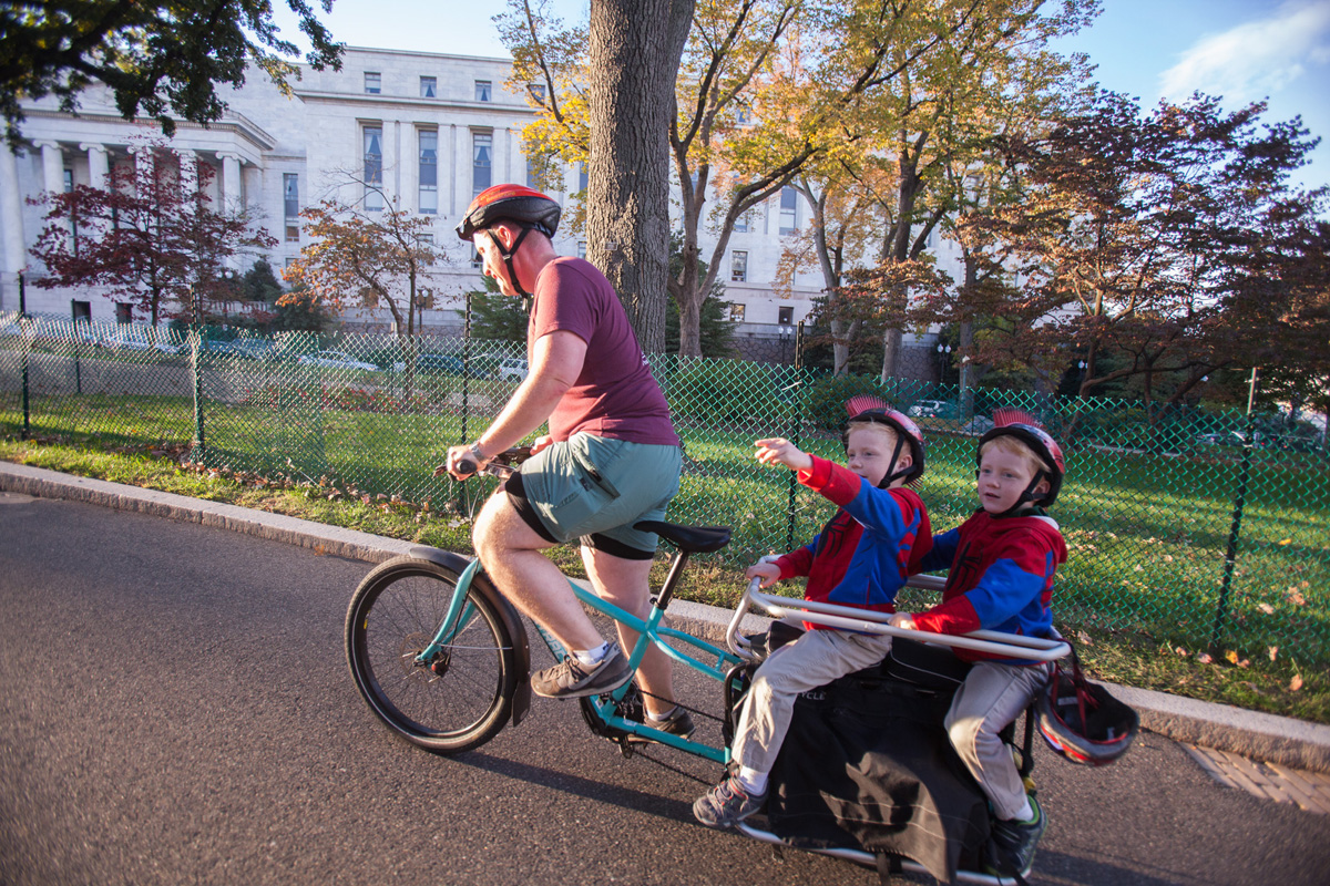 There's a reason it's called Capitol Hill. John climbs eastbound with the twins.