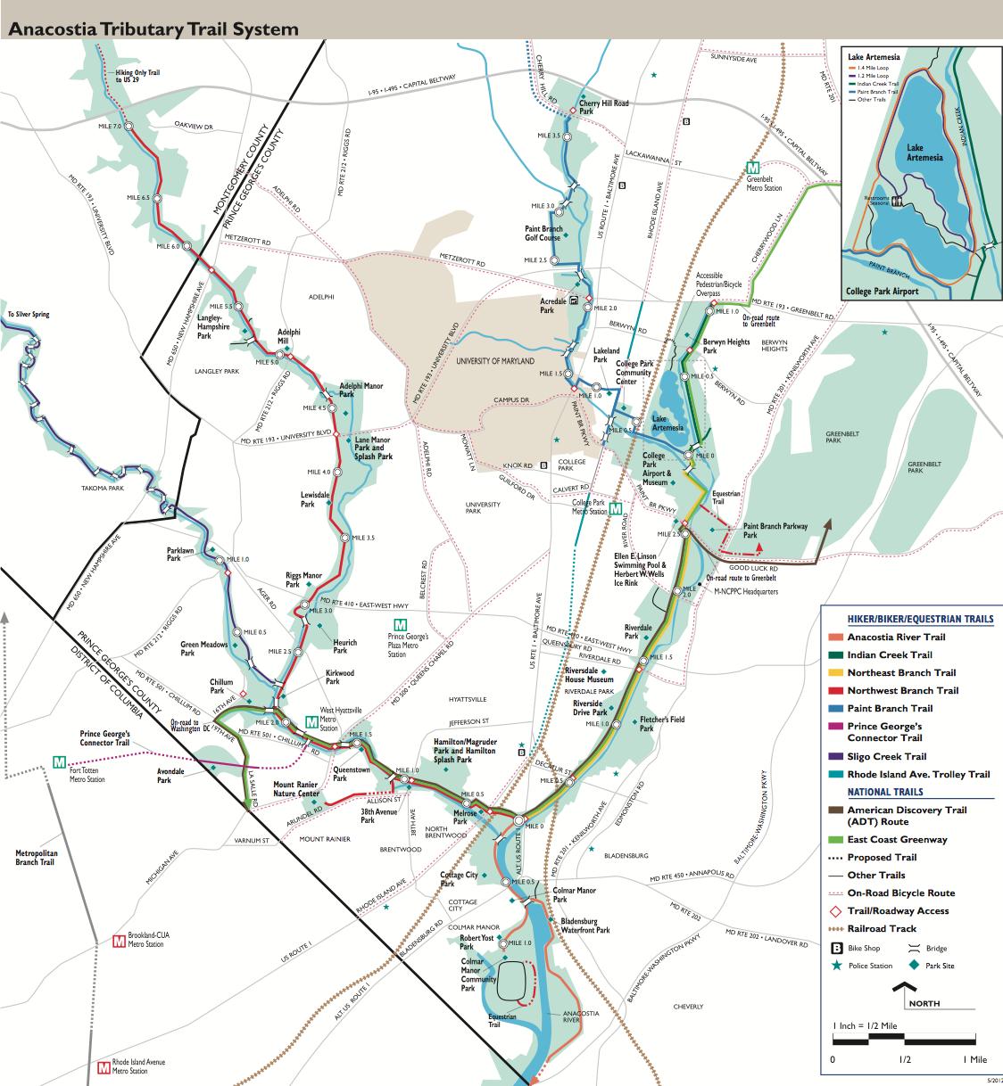 Anacostia Tributary Trail Map