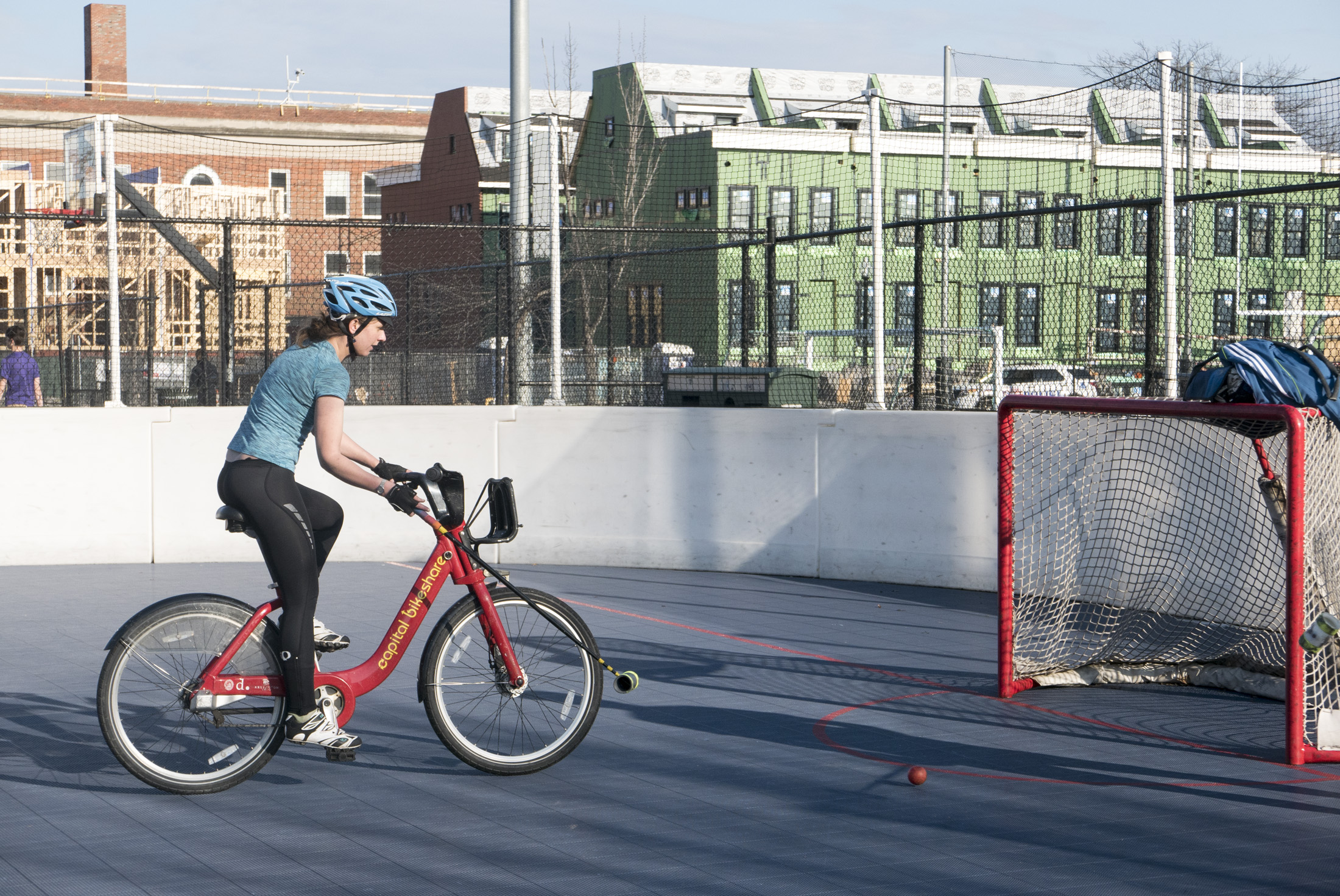 After suffering a mechanical, a Rolling Resistance participant hops on a CABI to finish the race.    DC Bike Polo  checkpoint at Rush Rink 1229 D St SE. Bike Polo curious? Check out  their Facebook  and you can join the fun.