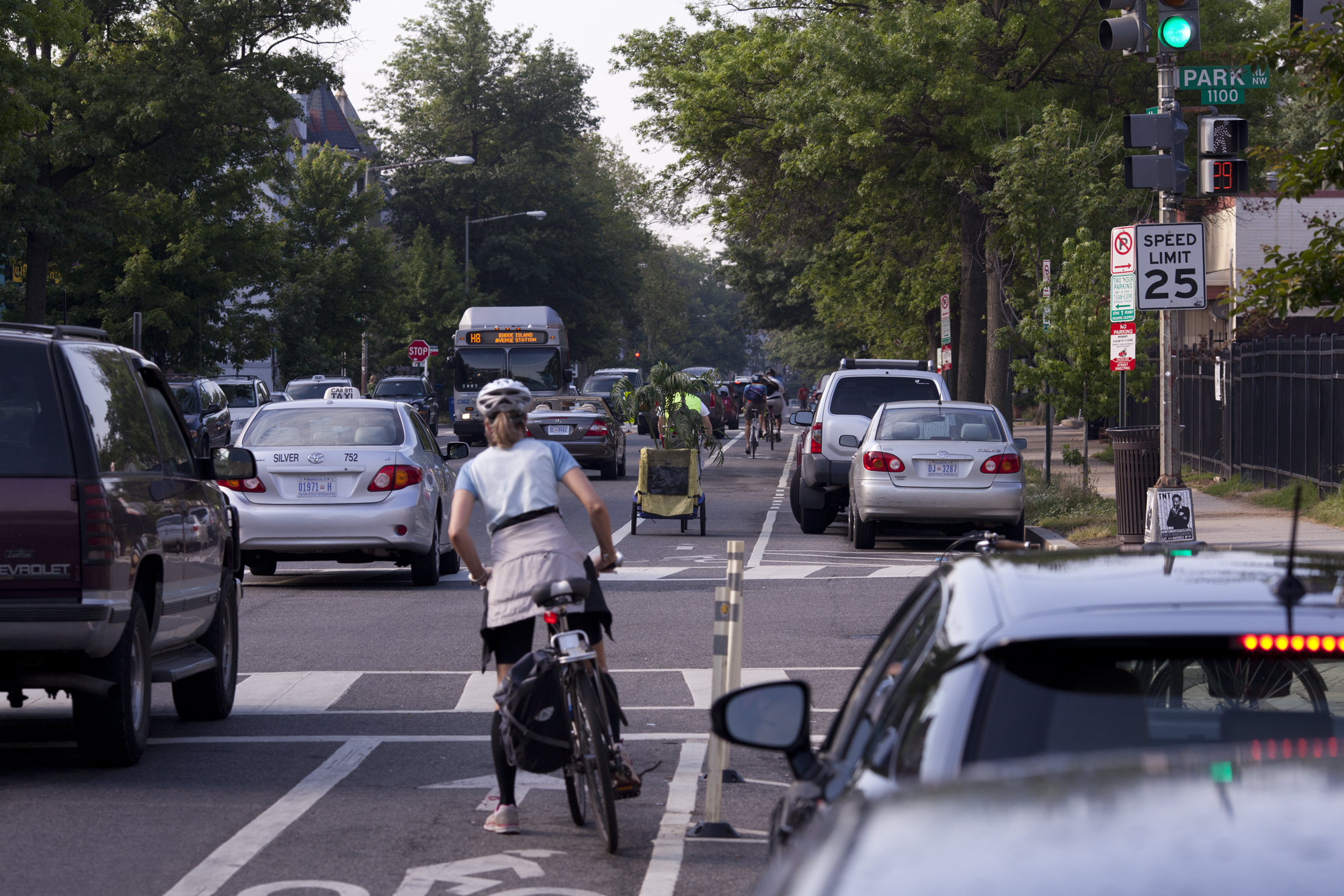 11 Street NW bike lane. Hop on in and join the thousands of fellow bike commuters in DC!
