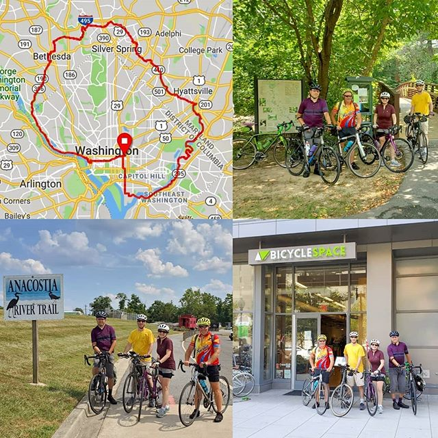 Going clockwise around #washingtondc on a #bikedcloop that took us some 37 miles on our #CityExplorers ride today. It wasn't that hard. All we did was follow the red line on the map! #bikedc #bikemd #dcloop #bspacerides #exploredc #bicycleride #bicycleshop #cyclingpictures #igbicycle #anacostiatrail #sligocreektrail #sligocreek