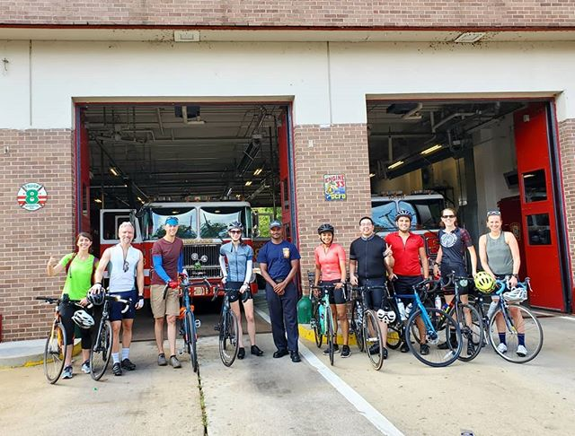 Much thanks to @dcfireandems Engine 33 Truck 8 House for letting us stop for a needed H2O break on our #HillsOfAnacostia ride today. We needed that break as we rode some 32 miles at 3,000 feet of elevation! It was #dcsbravest Larry Lewis showing us that #dcproud hospitality. #bikedc #bspacerides #bicycleride #bicycleshop #cyclingpictures #igbicycle #anacostia #anacostiadc #washingtondc #dchills #dcbike #dcbikeride #eotr #eastoftheriver #hillsofsedc #hillsride #hillseotrdc