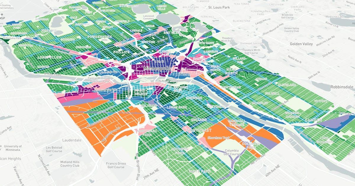 Star Tribune  visualization  of the Minneapolis 2040 plan by Alan Palazzolo