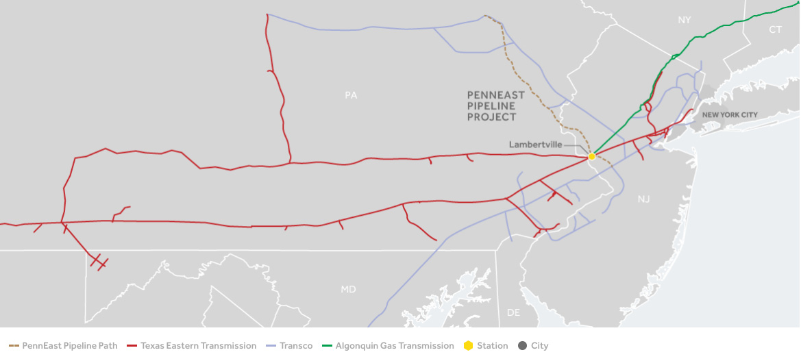 PennEast Pipeline path. Source:http://www.spectraenergy.com/Operations/US-Natural-Gas-Operations/New-Projects-US/PennEast-Pipeline-Project/