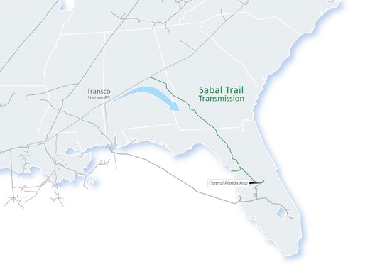 Proposed Map of Sabal Trail Pipeline via http://www.sabaltrailtransmission.com/