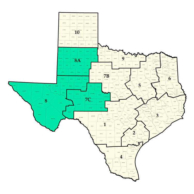 Counties located in the Permian Basin, map from  Railroad Commission of Texas