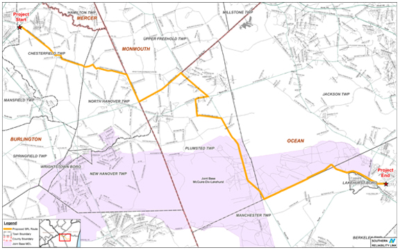 Proposed Route for Southern Reliability Link from  NJNG