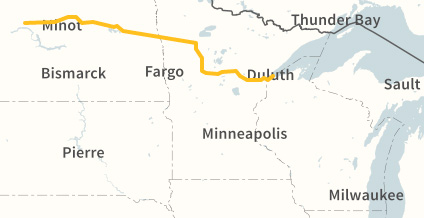 Proposed route of the Sandpiper Pipeline from  Enbridge