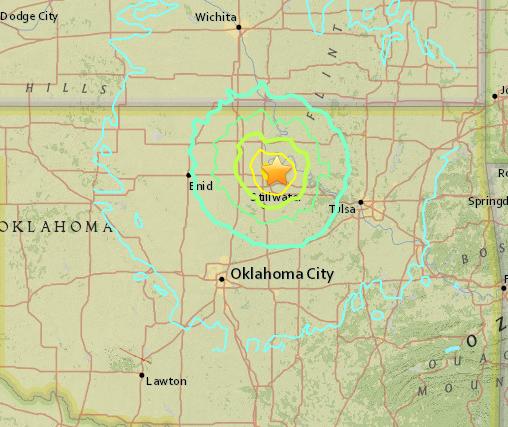 Crop of Oklahoma Earthquake, September 3, 2016 ( USGS )