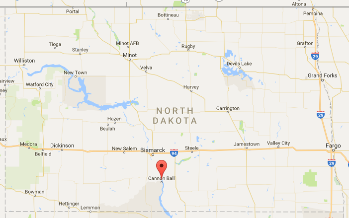 Red marker indicates the location of the Cannonball River where the U.S. Army Corps of Engineers is said to close off all protest camps that lie north of this location.