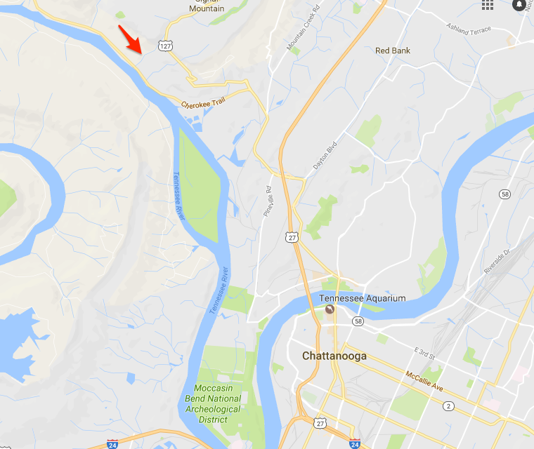 The red arrow indicates the location of Shoal Creek in relation to the Tennessee River in Chattanooga, Tennessee. Colonial Pipeline found a sheen on Shoal Creek after a spill on one of its gasoline lines was suspected on Sunday. A protective boom has been placed on the creek to keep the gasoline from reaching the Tennessee River. (Google Maps)