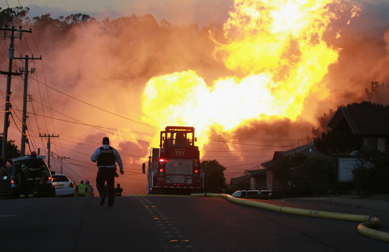 The San Bruno pipeline explosion occurred September 8, 2010 in San Bruno, California during which a natural gas pipeline owned by Pacific Gas & Electric Company exploded and killed eight people as well as destroyed 38 homes. ( CBS Local - San Francisco )