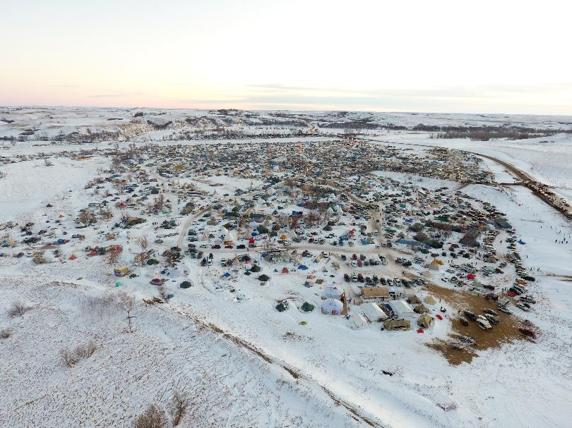 Arial view of the Oceti Sakowin camp where protestors have been fighting against the Dakota Access Pipeline (Valley News Live)