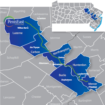 Proposed route of the PennEast natural gas pipeline ( PennEast Pipeline Company )