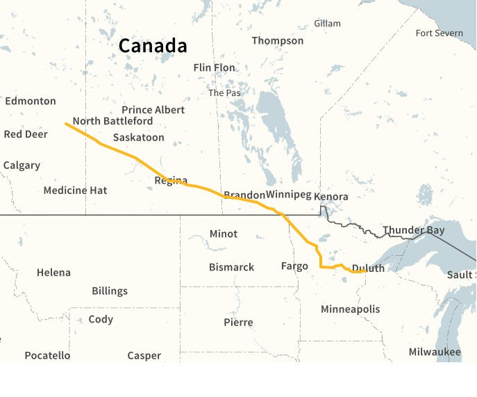 Map of proposed Line 3 Replacement Program ( Enbridge )