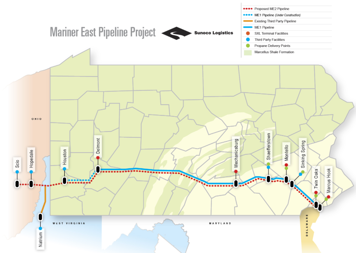 Proposed Route of Mariner East 2 Pipeline (  Chester County Planning Commission  )