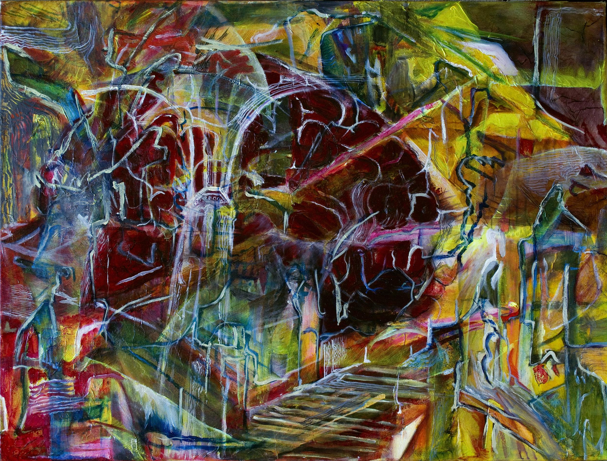 "Piranesi's Labyrinthine Glioma, 31"" x 23"" Oil and mixed media on canvas."