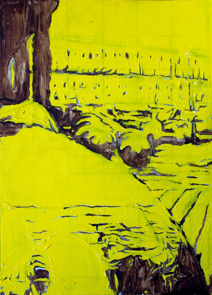 """Yellow Peace, Oil on Oil painting paper, 10"""" x 14"""""""