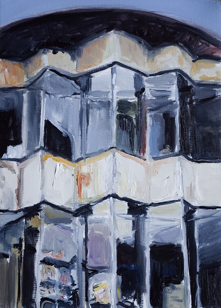 """Rotund Building, Oil on canvas Paper, 10"""" x 8"""""""