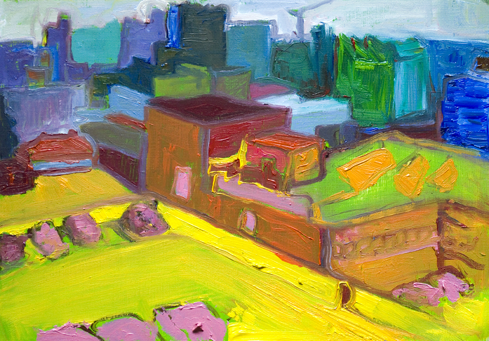 """Sheffield in colour, oil on canvas paper, 10"""" x 8"""""""