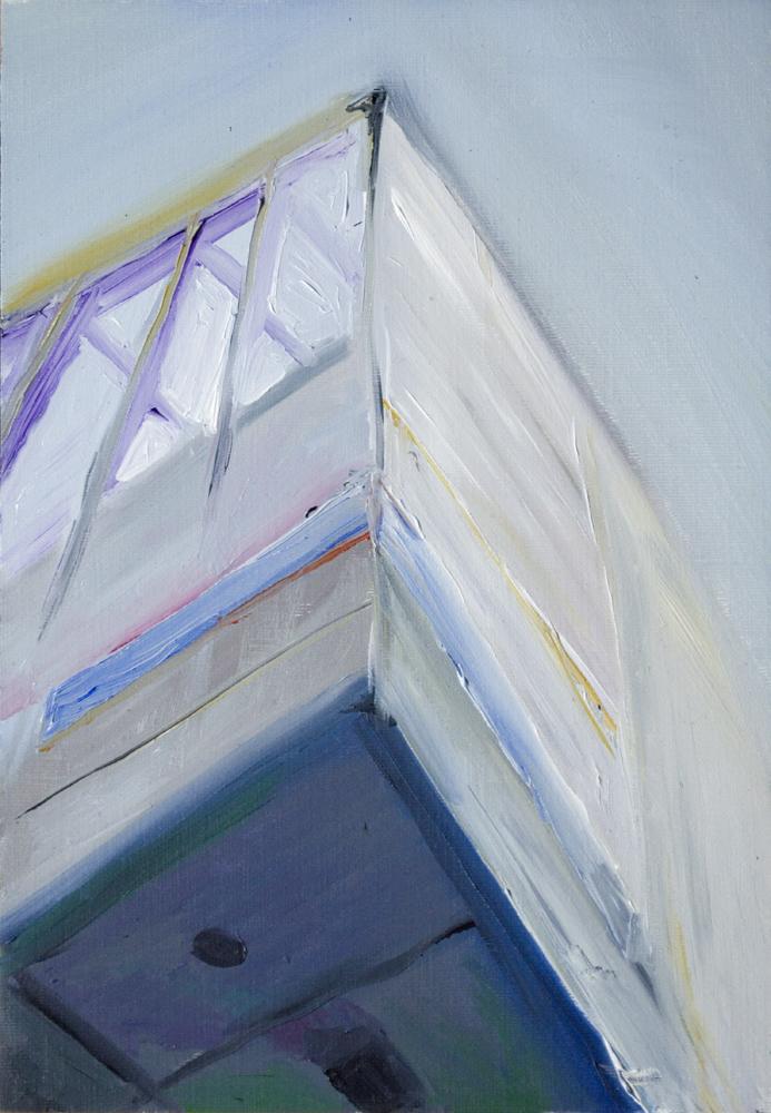 "Artspace Overhang, Oil on canvas paper, 10"" x 8"""