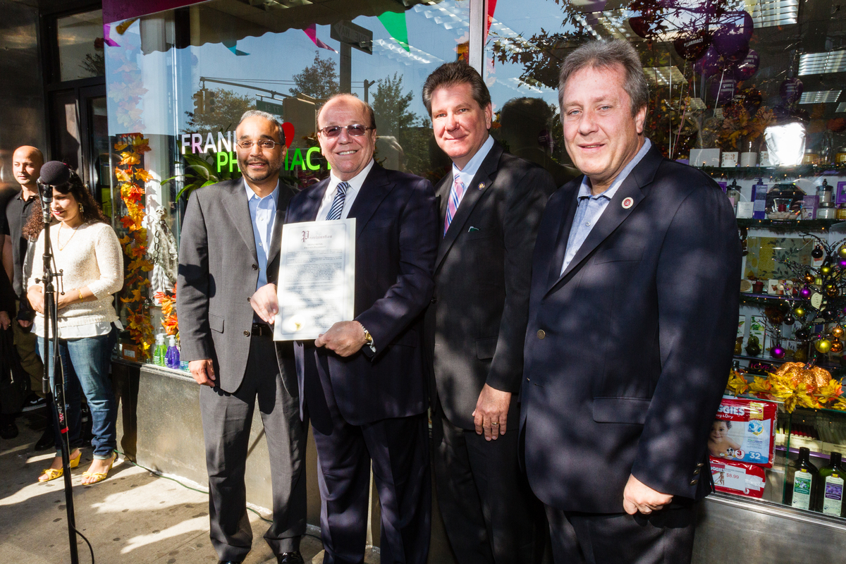 State Senator Jose Peralta, Frank's Pharmacy owner, Frank Buonagurio, Assemblymember Michael DenDekker, Councilmember Daniel Dromm at the Grand Reopening of Frank's Pharmacy celebration. Photo Alan Barnett Design and Photography