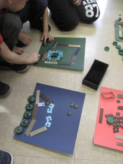 students from PS 172 Beacon school of excellence making designs with found materials