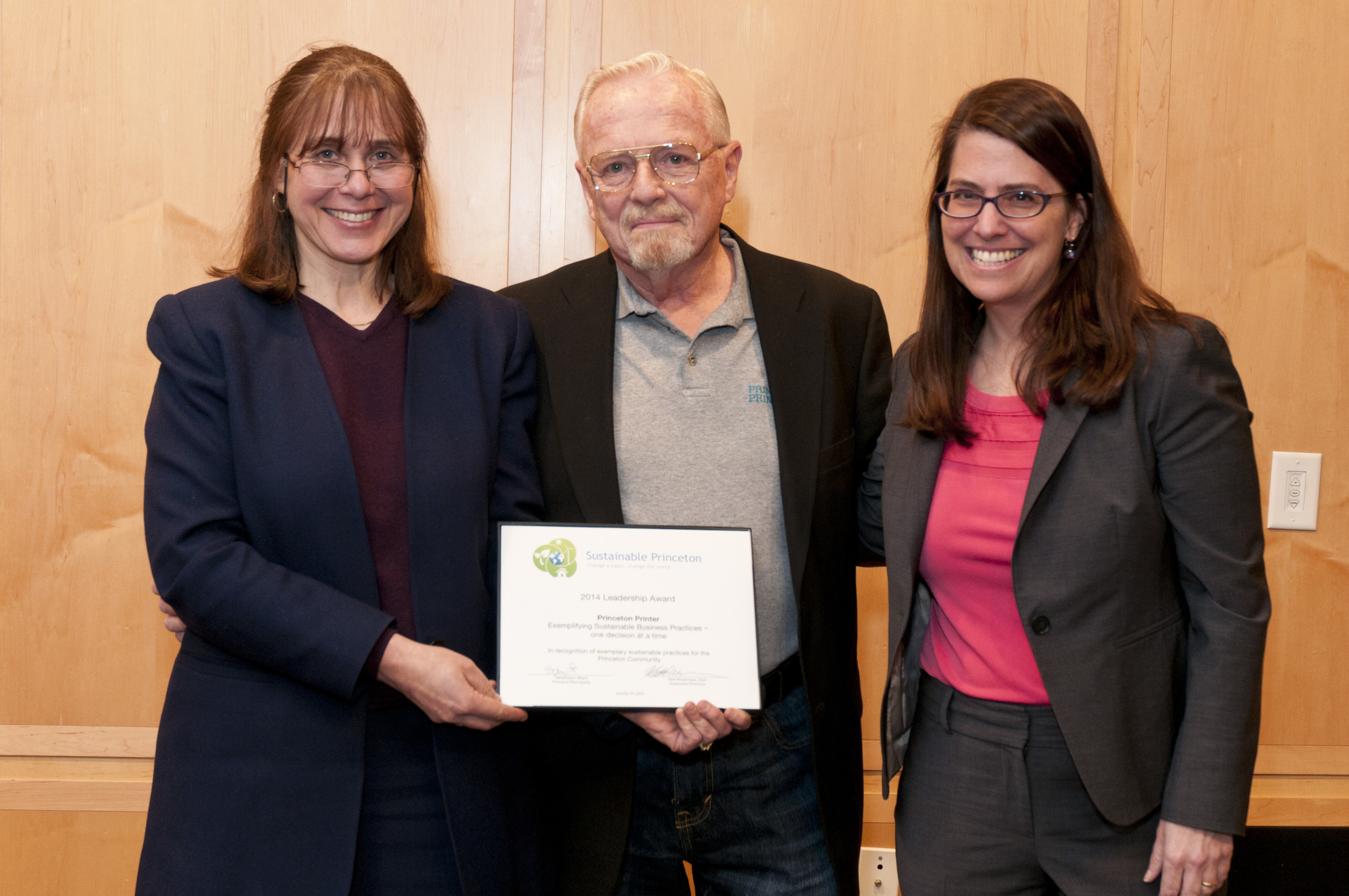 Bill Howard accepting for Princeton Printer with Sustainable Princeton Board Vice-Chair, Heidi Fichtenbaum and Mayor Liz Lempert. Photo by Cyndi Shattuck