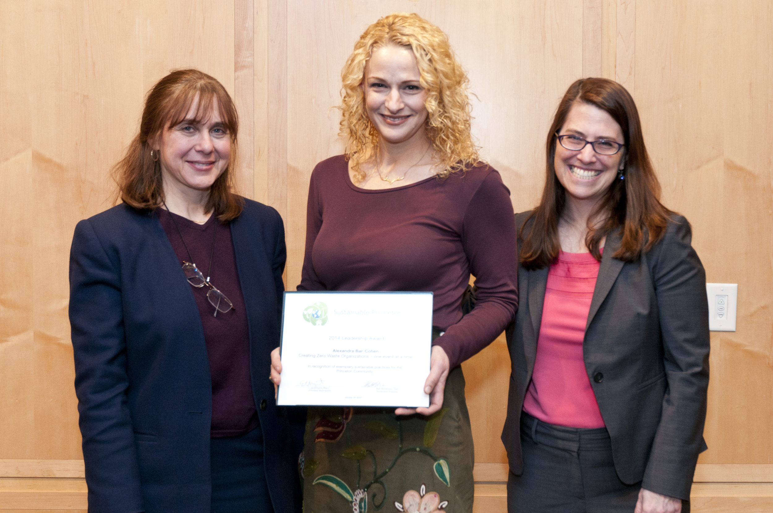 Alexandra Bar-Cohen (center) accepting award with Sustainable Princeton Vice-Chair, Heidi Fichtenbaum (left) and Mayor Liz Lempert (right). Photo by Cyndi Shattuck.