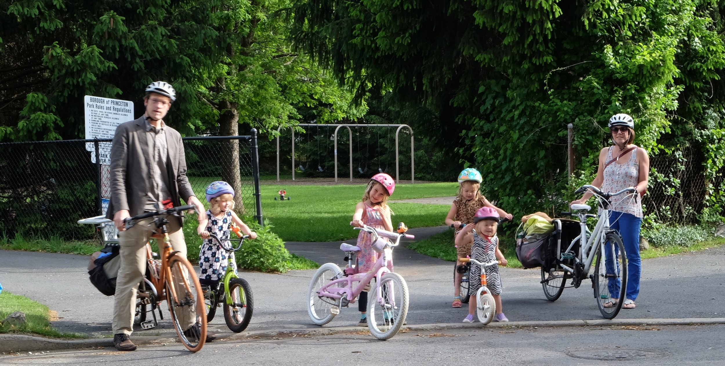 Princeton residents Georgette and Forrest Meggers ride bikes to school with their four young daughters nearly every day.