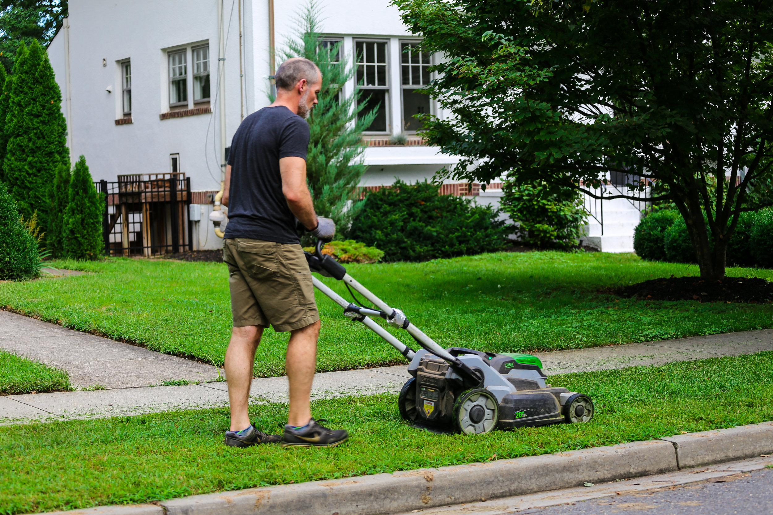 An electric mower in action!