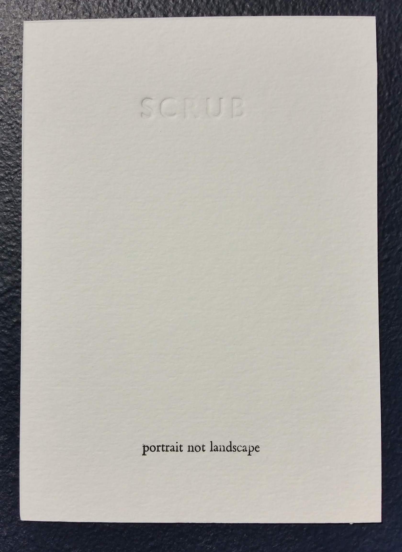 SCRUB poem cards (2018) by Caroline Harris