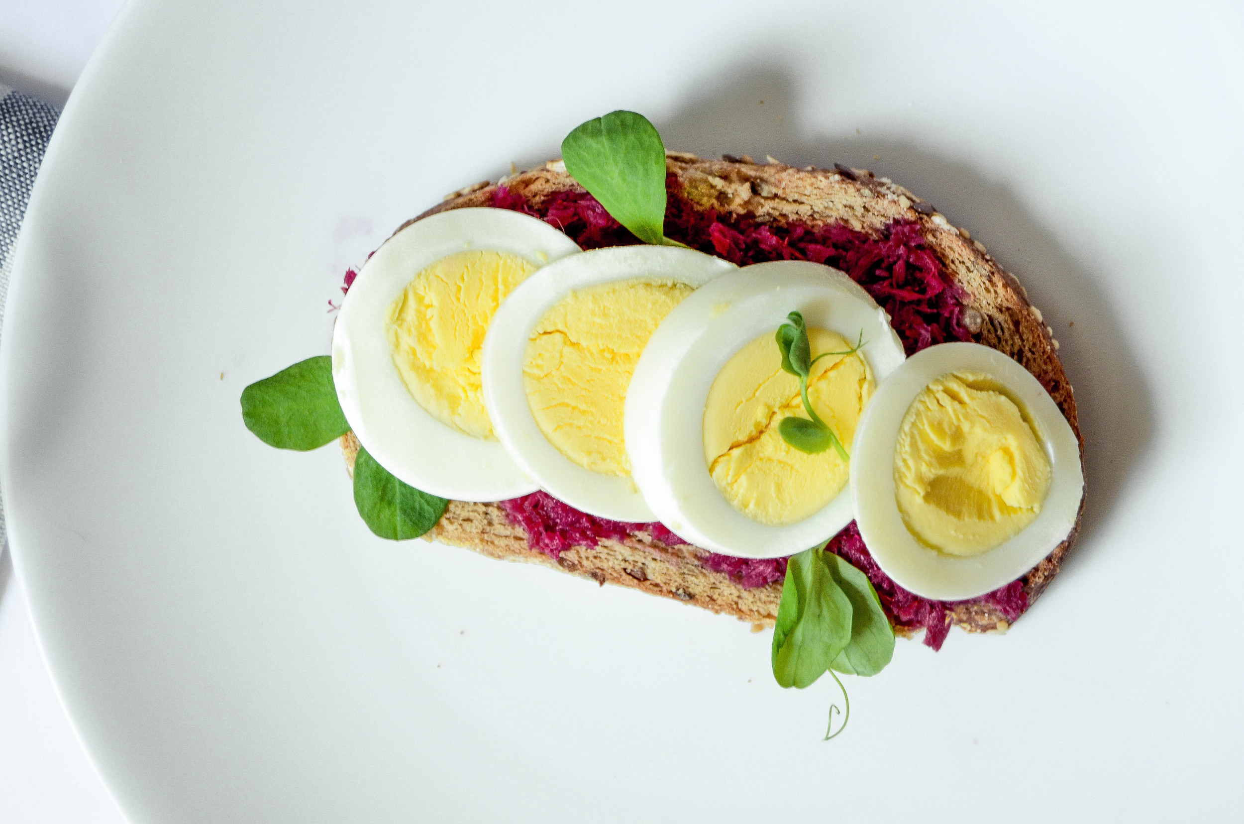 horseradish beets, hard boiled egg, pea sprouts, sea salt